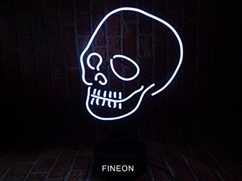 Mirsne Skull Glass tube Rock Neon Sign Sculpture Blue Bar Neon Light Sign 35cm x 14cm x 14cm Neon Lamp with PLASTIC Base - Blue Neon Lamp