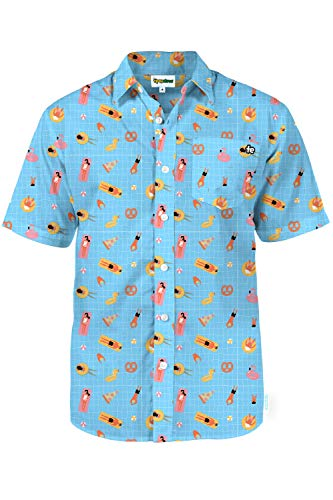 Hawaiian Party Shirts (Men's Blue Pool Party Hawaiian Shirt - Pool Floaty Button Down Aloha)