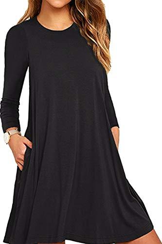 Casual Tops Summer Tunic Dress Swing Comfy black Sleeveless Women Cotton Mini YMING K qXwaw