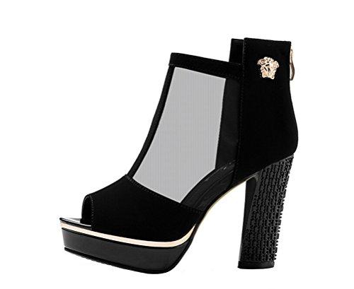 Scarpe Da Donna Peep Toe Peep Toe Piattaforma Elegante Tacco Alto In Velluto A Zampa Di Elefante Scarpe Con Cerniera Nere