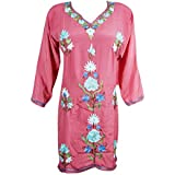Mogul Interior Womens Meagan Silk Tunic Dress Rose Pink Floral Hand Embroidered Shirt Dresses Large