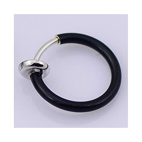 New 2 Pcs Fake Nose Lips Ring Spring Clip Hoop Earring Unisex Piercing Septum Black