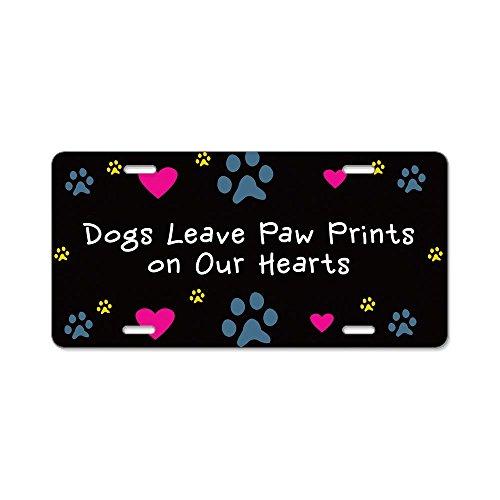 CafePress - Dogs Leave Paw Prints Aluminum License Plate - Aluminum License Plate, Front License Plate, Vanity ()