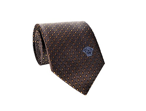 Diamond Patterned Silk Tie - Versace Men's Geometrical Small Diamond Patterned Silk Necktie Dark Brown-Gold