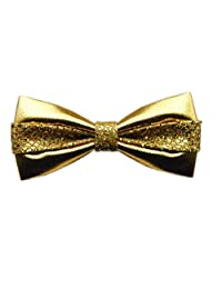 Hello Tie Men's Pure Color All PU Bow Tie With Sequins Setting Luxurious Bowtie
