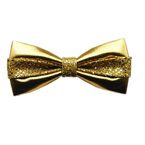 Hello Tie Men's Pure Color All PU Bow Tie With Sequins Setting Luxurious Bowtie - Golden]()