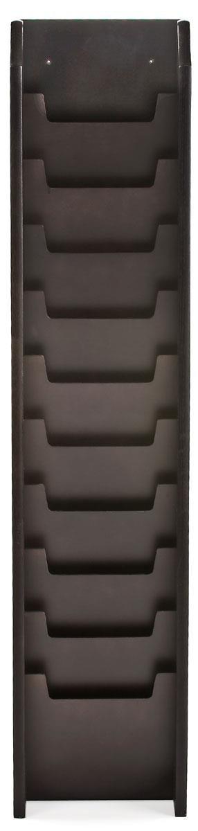 Displays2go Tiered Magazine Stand, Floor/Wall Mount, 10-Pocket, Oak Wood, Black (MG10WFBK)