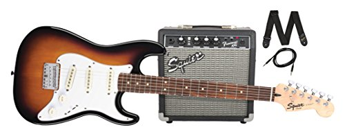 - Squier by Fender Stratocaster Short Scale Beginner Electric Guitar Pack with Squier Frontman 10G Amplifier -Brown Sunburst Finish