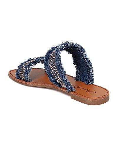 Beaded Breckelles Sandal Sandal Frayed Women Blue Collection Alrisco Flat HA92 Denim Slide Double Band Denim by 5t0Y70qxSn