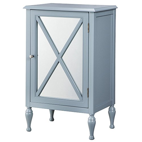 Storage Chest: Hollywood Mirrored One Door Storage Cabinet - Blue 14696850