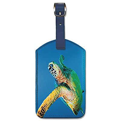 60%OFF Leatherette Vintage Art Luggage Tag - Green Sea Turtle by Theresa Young
