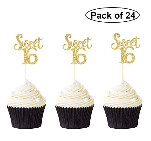 Pack of 24 Sweet 16 Cupcake Toppers Gold Glitter 16th Birthday Cupcake Picks Anniversary Party Decors