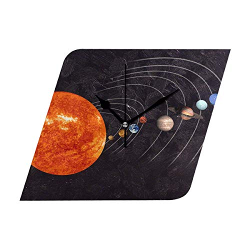 HangWang Wall Clock Solar System Pencil Drawing Silent Non Ticking Decorative diamond Digital Clocks Indoor Outdoor Kitchen Bedroom Living Room by HangWang
