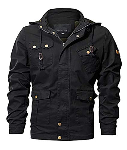 - MAGE MALE Men's Cotton Military Jackets Casual Outdoor Windbreaker Coat Multi-Pocket Cargo Jacket with Removable Hood