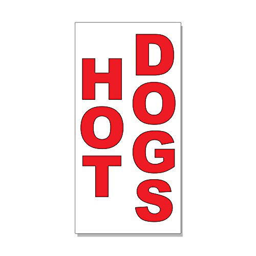 Hot Dogs Red Food Bar Restaurant Food Truck DECAL STICKER Retail Store Sign - 9.5 x 24 inches by Fastasticdeals