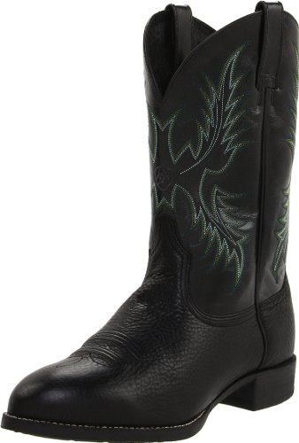 Ariat Men's Heritage Stockman Western Cowboy Boot, Black Deertan/Shiny Black, 9.5 2E US
