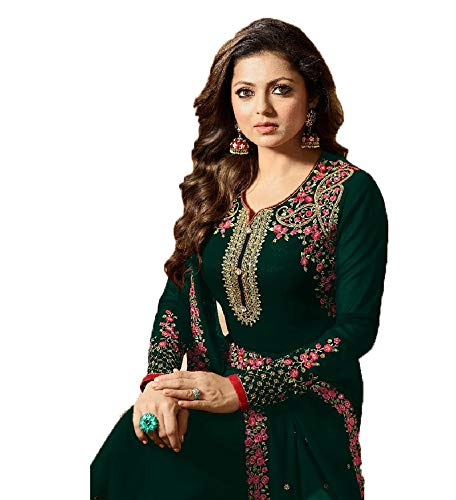 Laxminarayan Georgette Fabric Heavy Embroidered Designer Churidar Salwar Suit with Georgette Fabric Dupatta (Unstitch, Green) (Best Fabric For Dupatta)