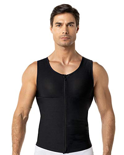 Leo Mens Abs Slimming Body Shaper with Back Support,Black,3X-Large