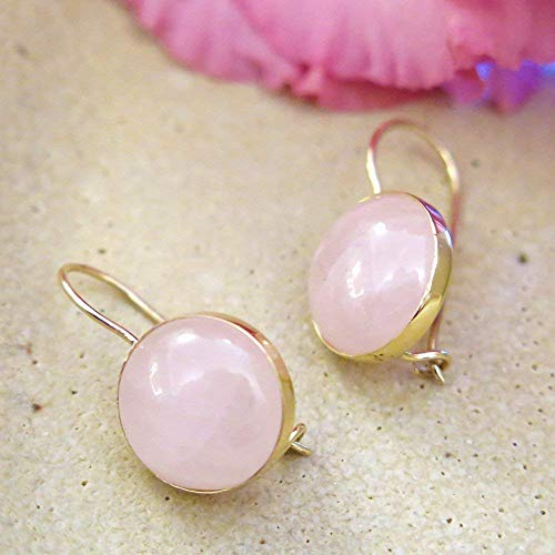 14K Gold Rose Quartz Earrings - 14K Solid Yellow Gold Dangle Drop Earrings, Dainty 12mm Light Pink Genuine Natural Rose Quartz Gemstone, Simple Minimalist Handmade Jewelry Statement Earrings