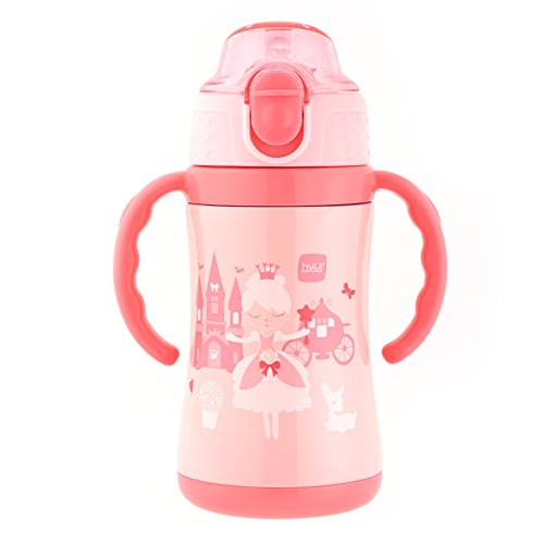 B&H Kids Cup Stainless Steel Insulated Sippy Cup for Baby with Straw, BPA free, 10 Ounce (Pink)