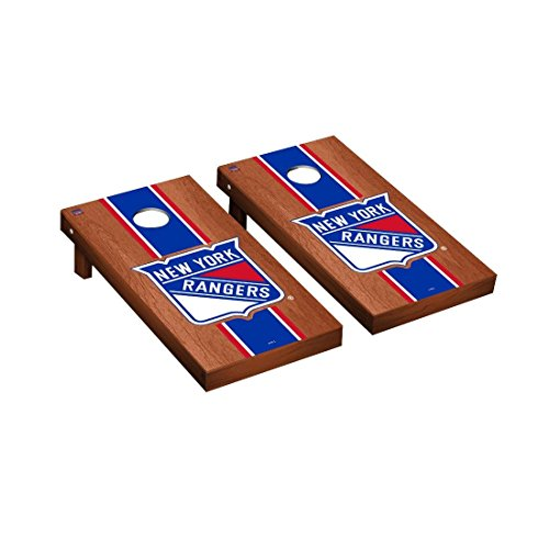 Victory Tailgate New York Rangers NHL Regulation Cornhole Game Set Rosewood Stained Stripe Version ()