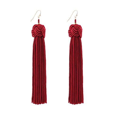 DDH Knotted Dangle Tassel Earrings Long Thread Tassel Red Beaded Eardrop For Women Girls