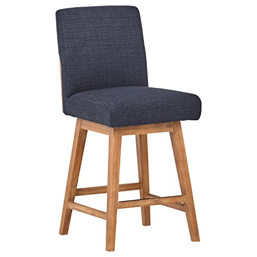 Stone & Beam Sophia Modern Swivel Kitchen Counter Bar Stool, 39.4 Inch Height, Navy Blue