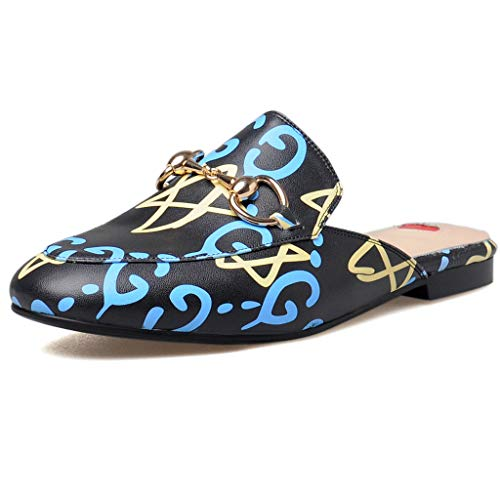 Embellished Mule - Comfity Mules for Women,Womens Leather Slip On Mule Flats Embroidery Backless Loafers Slippers Shoes