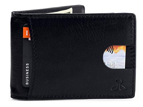 RFID Leather Wallets for Men - Bifold Slim Mens Wallet money clip card holder, Black (Brick Platinum Card)