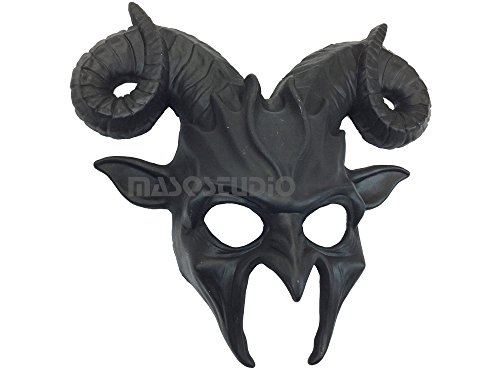 Solid Black Goat Mask Animal Ram Masquerade Halloween Cosplay Big Horns mask