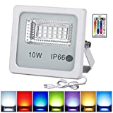 10W RGB LED Flood Lights with Remote Control, IP66 Waterproof Dimmable Color Changing Floodlight, 16 Colors 4 Modes Wall Washer Light, Indoor Outdoor Decorative Garden Landscape Lighting (1 Pack)