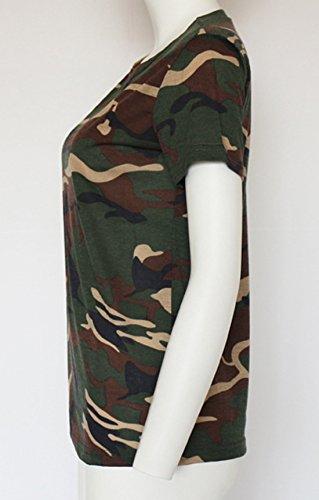Lache Et Camouflage Courtes Verte Chemisiers Fashion Shirt Blouse Manches T Col Longues New Rond Haut Casual Tops Femme Arme qHwrRHt