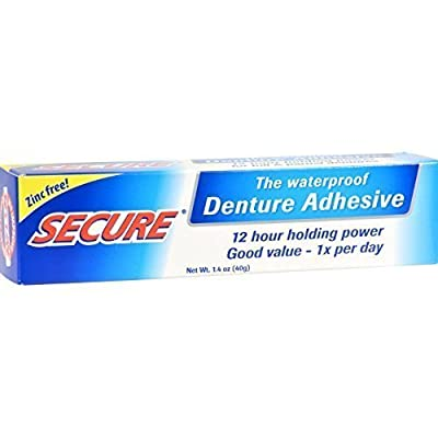 Secure Waterproof Denture Adhesive - Zinc Free - Extra Strong Hold For Upper, Lower or Partials - 1.4 oz (Pack of 5)