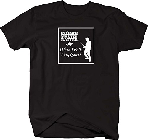 Certified Master Baiter, I Bait They Come funny fishing Mens T Shirt - Medium Falcon Bait