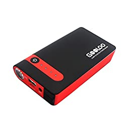 GOOLOO 450A Peak Car Jump Starter 10000mAh Phone Power Bank GP03B Portable Auto Battery Pack Booster Charger with Best LED Flashlight, Black/Red