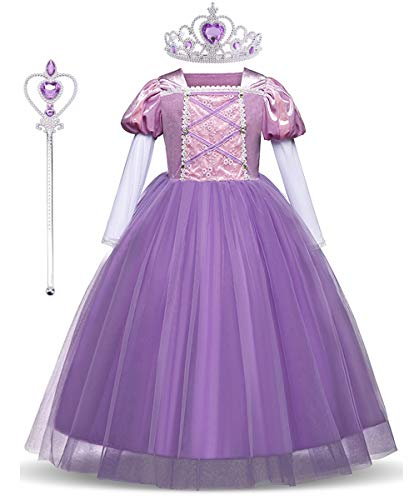 LENSEN Tech Princess Rapunzel Dress with Mace Crown Party Long Sleeve Costume (Purple/Accessory, 7-8) ()