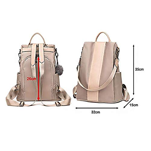 Theft Lady Bag Handbag Backpack Shoulder Nylon Bag Backpack TOOSD Women's Backpack Lightweight Khaki Bag Anti XTqBw74