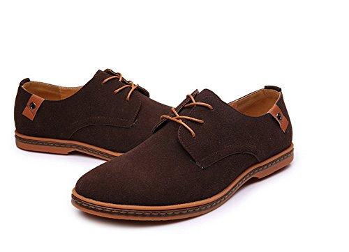 Hombres Zapatos Nuevo Hombres Casual / Oxfords Formal Zapatos Wing Tip Suede Leather Flats Lace Up Zapatos De Gran Tamaño 38-48 Brown