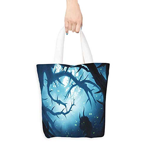 Mystic Decor Shopping Bag Animal with Burning Eyes in Dark Forest at Night Horror Halloween Illustration Machine Washable 16.5
