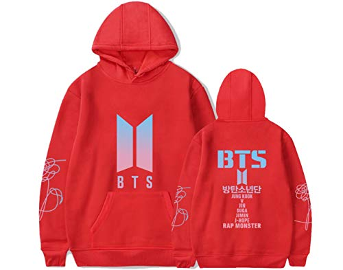 Valentine Name Sweatshirt (DealRight BTS Pullover Hoodie Rap Monster Love Yourself Kpop Suga V Jimin Jungkook Hooded Sports Sweatshirt (Medium, Red))