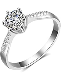 Silver Rings CZ Cubic Zirconia Wedding Engagement Promise Ring for Women Girl Size 6-10