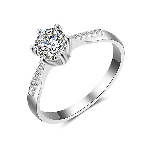 Edge Engagement Ring Setting - dnswez White Gold 1 Ct Hearts and Arrows Cut CZ Solitaire Engagement Rings(6)
