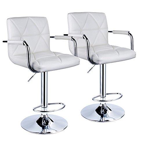 Leader Accessories Square Back Adjustable Bar Stools with armrest,Set of (Adjustable Height Square Stool)