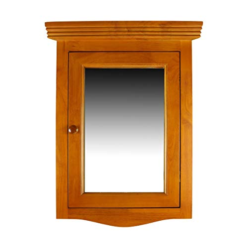 Corner Bathroom Medicine Cabinet Wall Mounted with Mirror Golden Oak Hardwood Pre-Assembled with Middle Shelf and Mounting Hardware Renovator