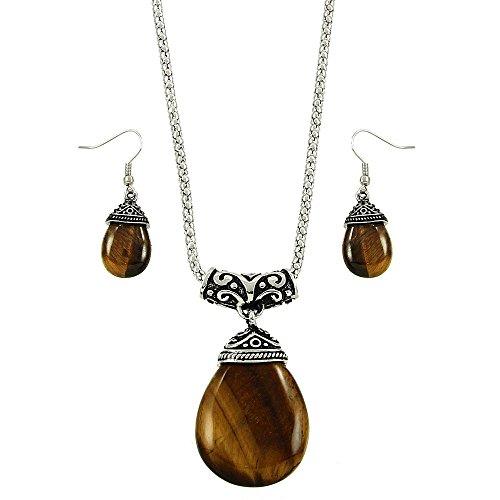 Falari Tear Drop Shaped Natural Gemstones Necklace Earring Set Tiger Eye