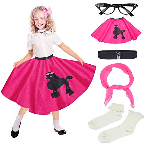 Beelittle 50s Girls Costume Accessories Set - Vintage Felt Poodle Skirt, Chiffon Scarf, Cat Eye Glasses, Bobby Socks (Rose Red) -