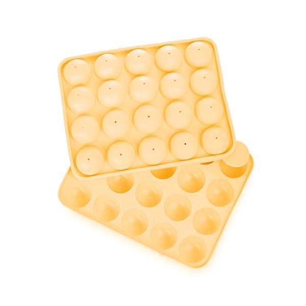 Lumaland Cuisine Teglia/Stampo da Forno in silicone da 20 Cake-pops o stick cake, inclusi 40 bastoncini ca. 22,5 x 18,5… 7 spesavip
