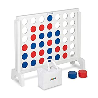 """JOYMOR Giant Wooden 4 in a Row Game with Storage Bag, Huge 4 Connect in a Row Family Game Fun for Adults and Kids (White, 25.5"""" L)"""