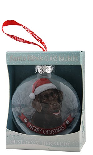 "Santa Paws Glass Ornaments""""Labrador - Chocolate Ornament, Multicolor"