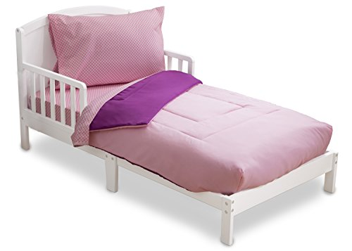 Toddler Bedding Set | Girls 4 Piece Collection | Fitted Sheet, Flat Top Sheet w/ Elastic bottom, Fitted Comforter w/ Elastic bottom, Pillowcase | Delta Children | Pink & Purple - Pink Gingham Comforter